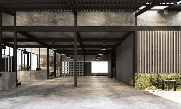 Capannone industriale moderno con spazio di lavoro e fabbrica di zona giorno con rendering 3d di interior design di struttura in metallo e cemento Foto Premium