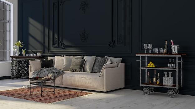 Interior design moderno. sfondo decorativo di una casa, appartamento, ufficio o hotel. Foto Premium