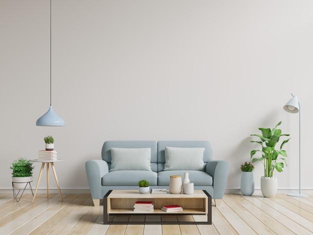 Stanza Interna Moderna Con Le Piante E Sofa In Tavola Di Legno Foto Premium