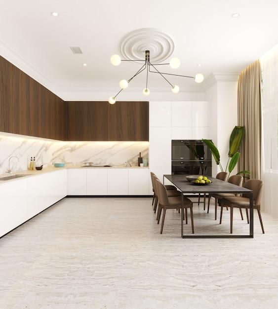 Cucina Moderna Con Tavolo E Sedie 3d Rendering Foto Premium