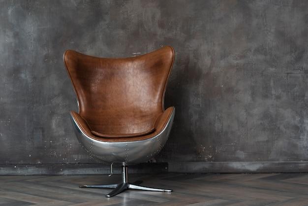Poltrona moderna in pelle in studio Foto Premium
