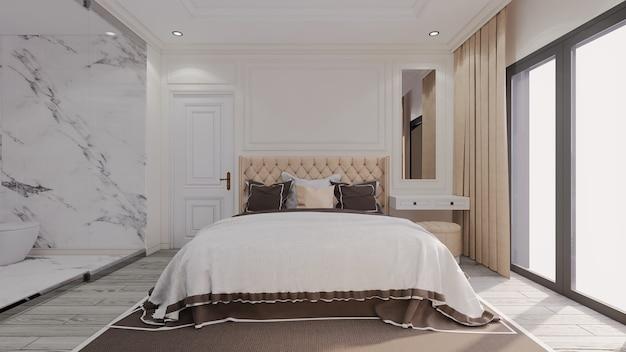 Camera da letto classica di lusso moderna con bagno trasparente accanto Foto Premium