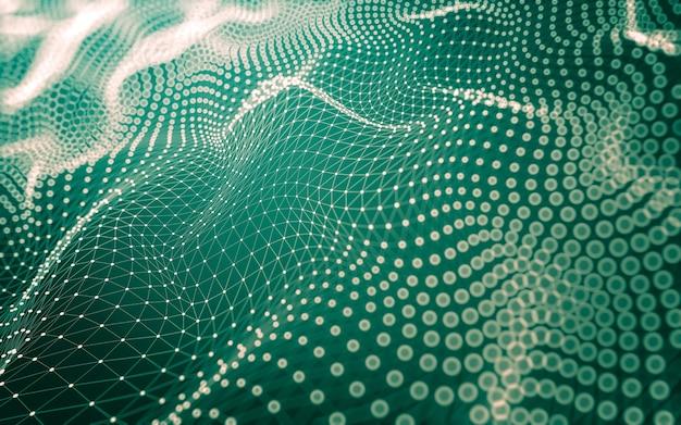 Tecnologia delle molecole con forme poligonali, punti e linee di collegamento. Foto Premium