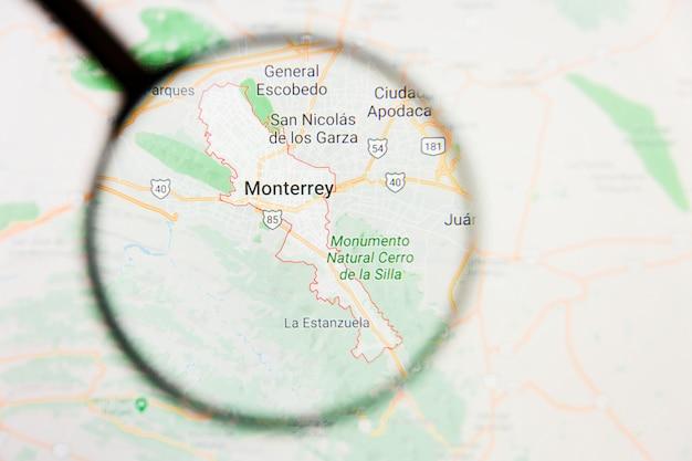 Concetto illustrativo di visualizzazione di monterrey, città del messico sullo schermo tramite la lente d'ingrandimento Foto Premium