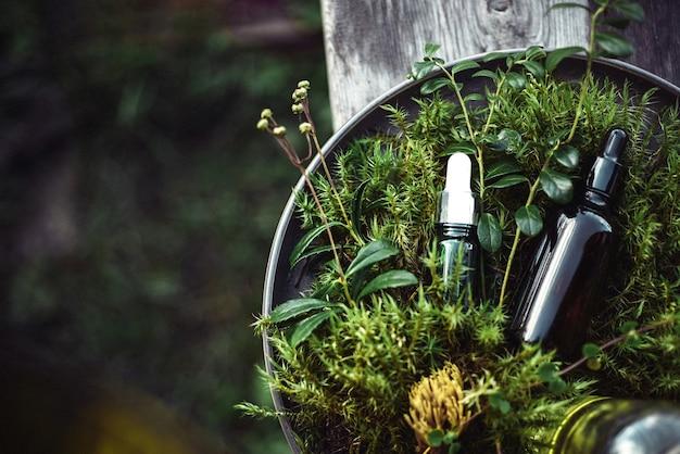 Cosmetici naturali per la bellezza del viso e del corpo su verde dalle piante Foto Premium