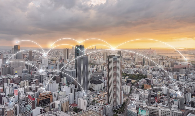 Tecnologia di connessione di rete in città Foto Premium