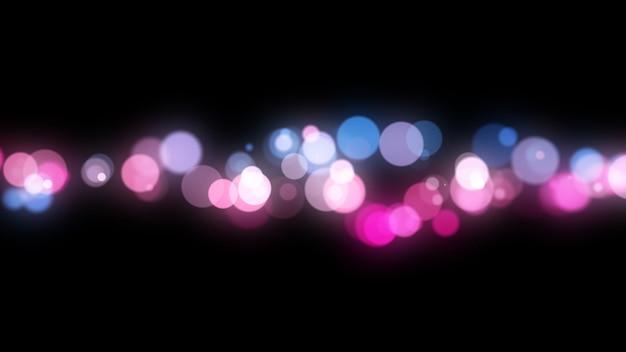 Nuovo anno 2020. sfondo bokeh. luci astratte. sfondo di buon natale. luce glitterata particelle sfocati. colori viola e rosa isolato su nero Foto Premium