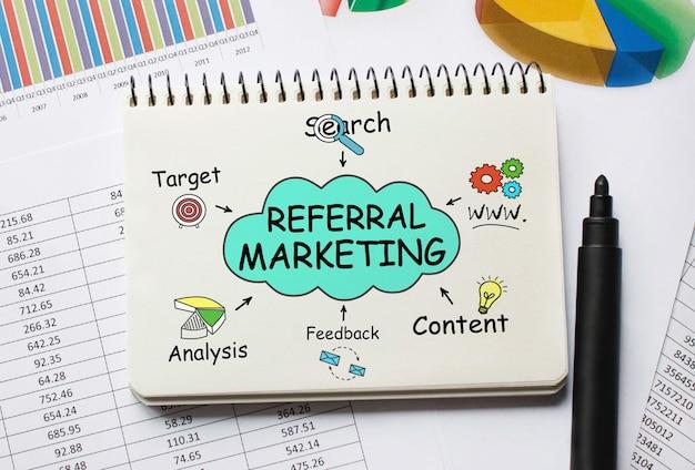 Notebook con strumenti e note sul marketing di riferimento Foto Premium