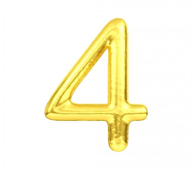 Numero 4, numero quattro dell'aerostato dorato isolato su fondo bianco, rappresentazione 3d Foto Premium