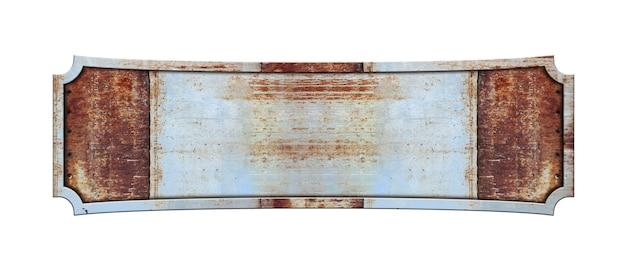 Targa oblunga in metallo isolato su sfondo bianco Foto Premium