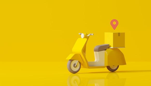 Consegna online con servizio scooter su sfondo giallo Foto Premium