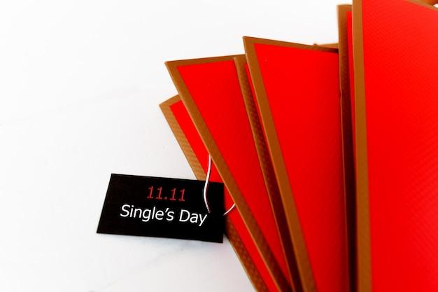 Acquisto in linea della cina, concetto di vendita di giorno del singolo 11.11. il tag di vendita di un solo giorno del biglietto 11.11. Foto Premium