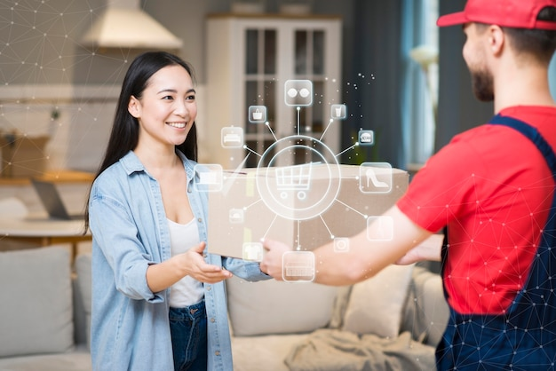 Rappresentazione della consegna dello shopping online Foto Premium