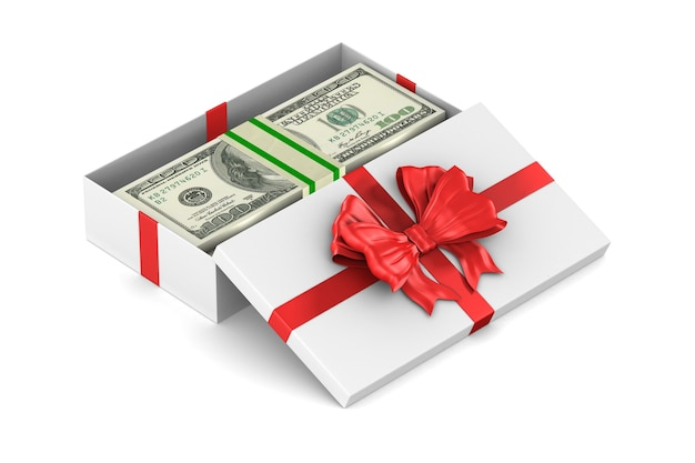 Contenitore di regalo bianco aperto con soldi su uno spazio bianco. illustrazione 3d isolata Foto Premium
