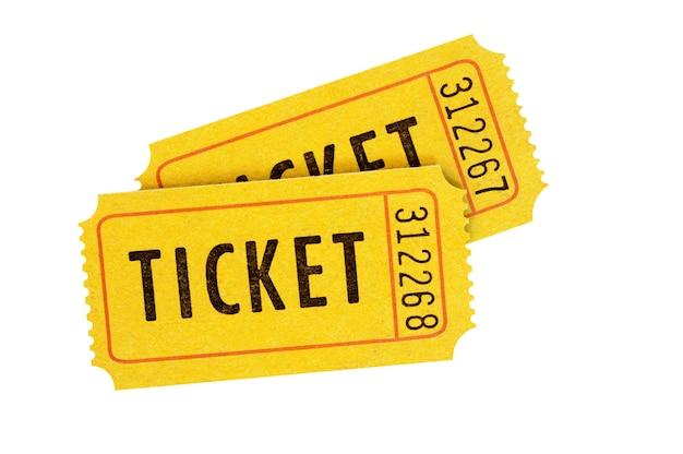 Biglietti di ammissione arancione isolati su bianco Foto Premium