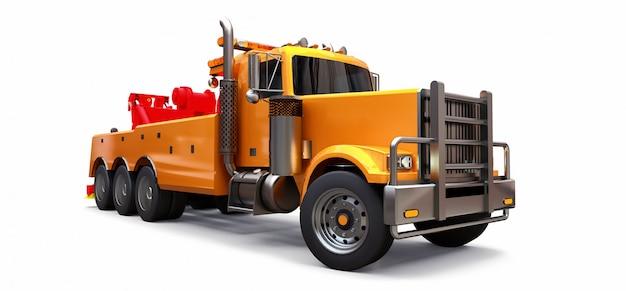 Carro attrezzi arancione per il trasporto di altri grandi camion o vari macchinari pesanti Foto Premium