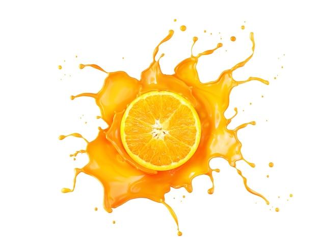 Spruzzata di succo d'arancia con fetta d'arancia Foto Premium