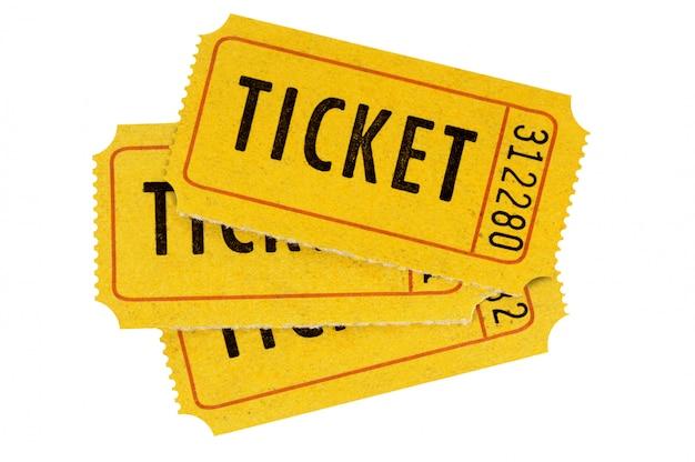 Biglietti arancioni isolati bianco Foto Premium
