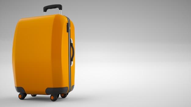 Borsa da viaggio arancione isolata su luminoso. rendering 3d Foto Premium