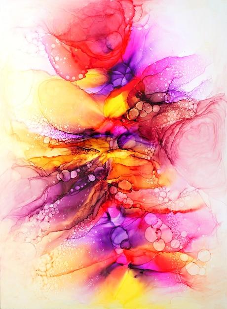 Originale arte pittura a inchiostro di alcol su sfondo bianco Foto Premium