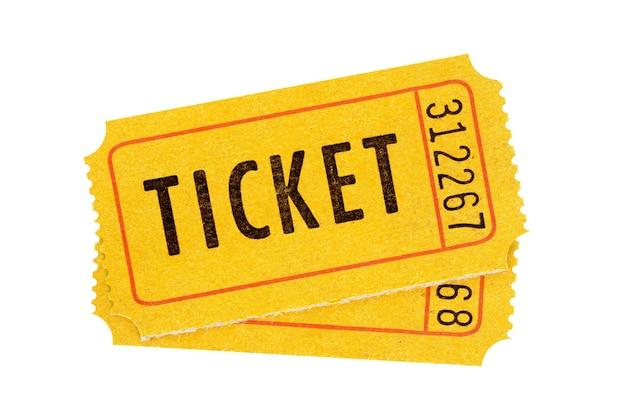 Accoppiare i biglietti arancioni isolati sullo sfondo bianco Foto Premium