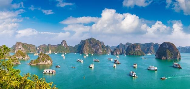 Panorama della baia di halong dal vietnam Foto Premium