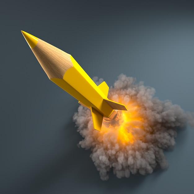 Matita a forma di razzo con fumo e fiamme. creatività e concetto di avvio. rendering 3d. Foto Premium