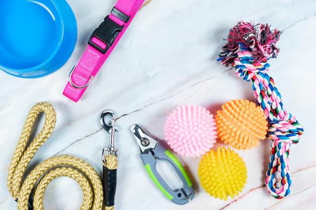 Concetto di accessori per animali domestici. giocattolo, collari, forbice per unghie e guinzagli con spazio di copia Foto Premium