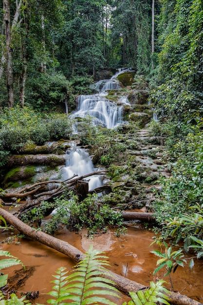 Cascata phacharoen nella provincia di tak, thailandia Foto Premium