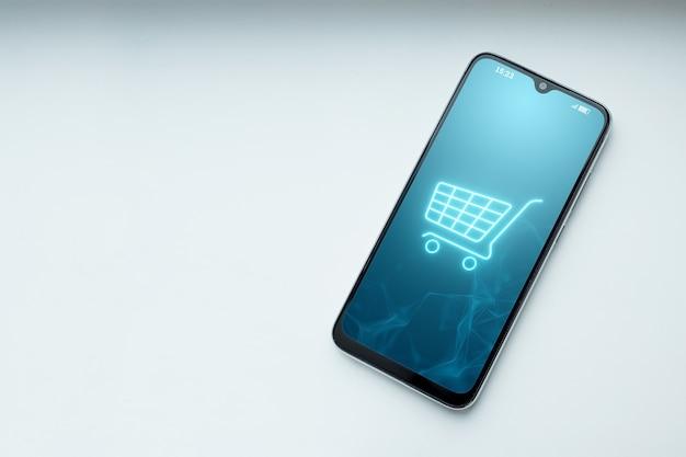 Telefono e ologramma del cestino. Foto Premium