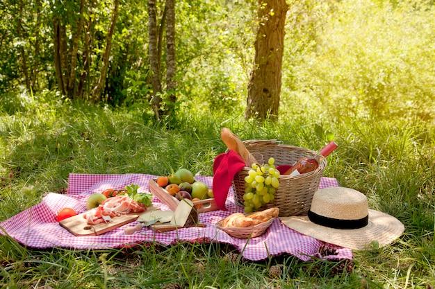 Pic-nic al parco sull'erba: tovaglia, cestino, cibo sano, vino rosato e accessori Foto Premium