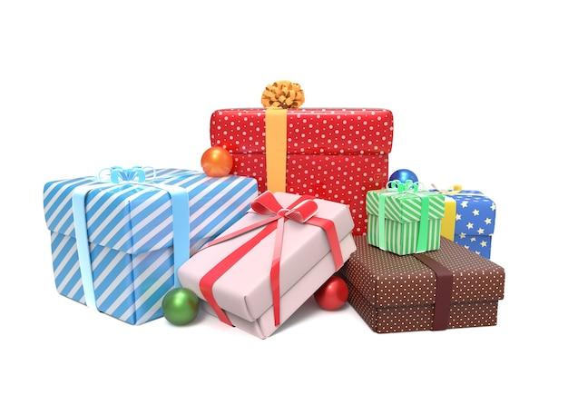 Pila di coloratissimi regali avvolti Foto Premium