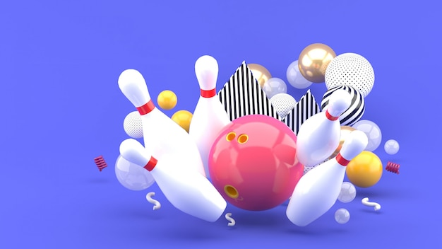Bowling rosa tra le palline colorate sul viola. rendering 3d. Foto Premium