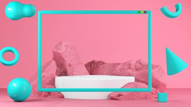 Stand gastronomico rosa pastello in background. concetto astratto di geometria minima Foto Premium