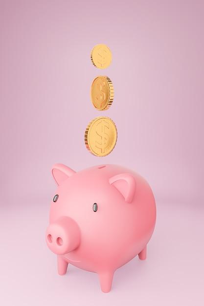 Salvadanaio rosa e molte monete d'oro torreggiano Foto Premium