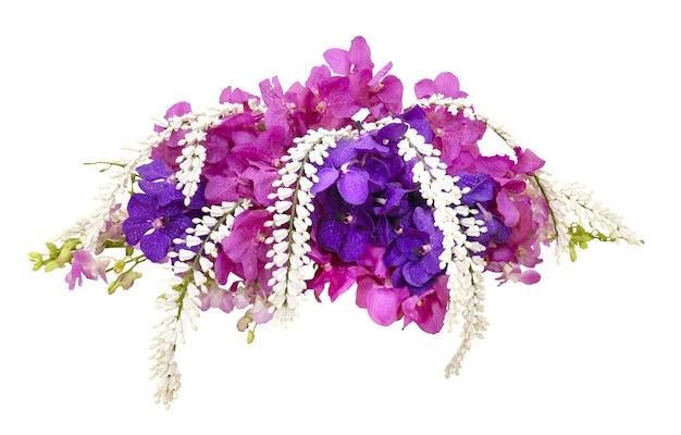 Disposizione dei fiori dell'orchidea di vanda rosa e viola Foto Premium
