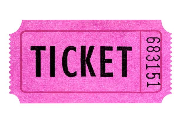 Biglietto rosa isolato bianco. Foto Premium