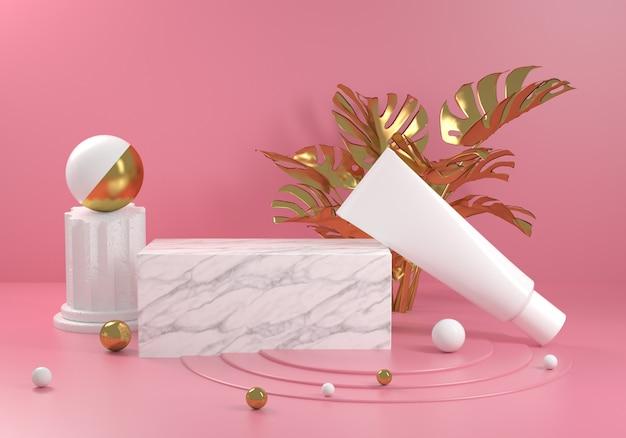 Piattaforma in marmo bianco con pianta monstera oro e sfondo rosa 3d render Foto Premium