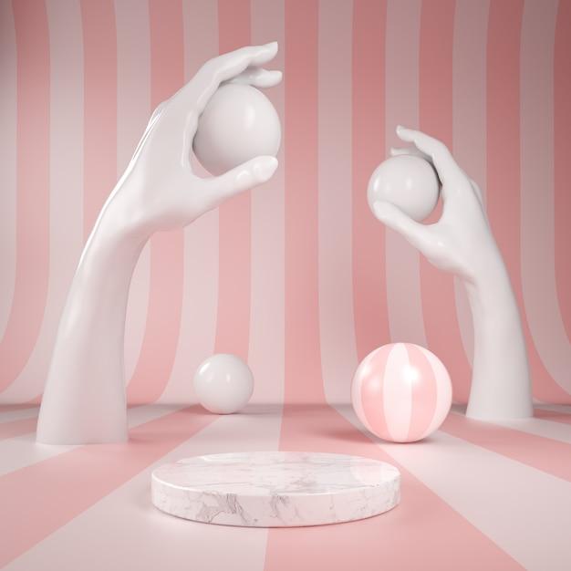 Marmo display podio con mano bianca su sfondo modello arcobaleno rosa Foto Premium