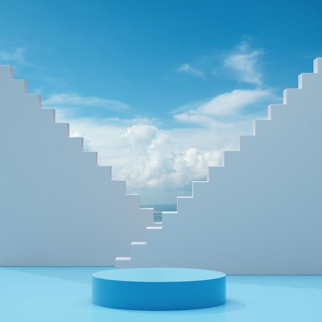 Palco podio stare su uno sfondo bianco blu con cielo azzurro e nuvole in una giornata di sole astratto sfondo 3d rendering Foto Premium