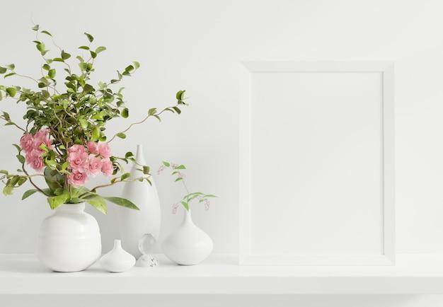 Cornice poster sullo scaffale nella stanza interna. rendering 3d Foto Premium