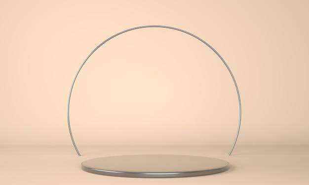 Podio del prodotto su sfondo pastello 3d. concetto astratto di geometria minima. tema della piattaforma dello stand da studio. Foto Premium