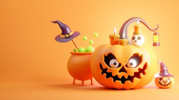 Zucca al giorno di halloween sull'arancia Foto Premium