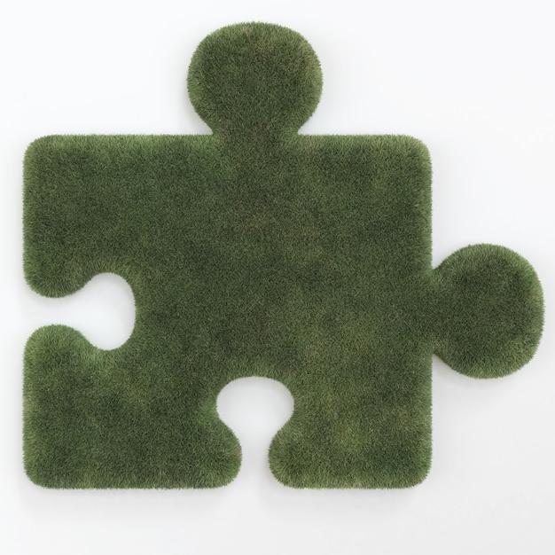 Puzzle sotto forma di erba isolata Foto Premium