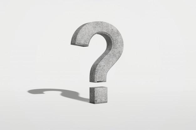 Punto interrogativo su una rappresentazione bianca del fondo 3d Foto Premium