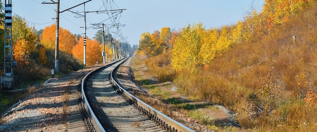 La ferrovia attraversa un bellissimo bosco autunnale con alberi colorati. la strada gira, lo sfondo della ferrovia. Foto Premium
