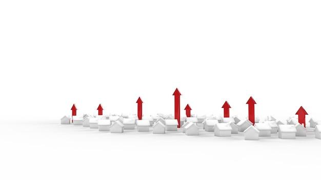 Crescita del business immobiliare con la freccia. illustrazione 3d. Foto Premium
