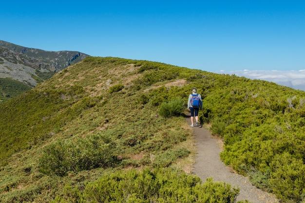 Vista posteriore di un turista donna con zaino che cammina su un crinale di montagna Foto Premium