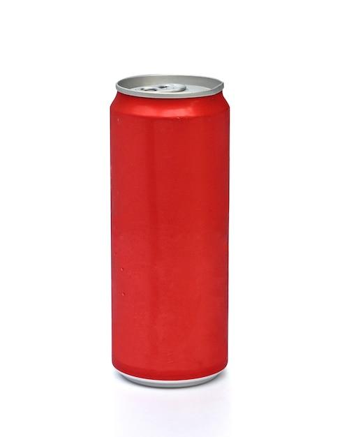 Latta di alluminio rossa su bianco Foto Premium