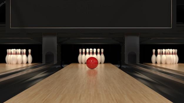 Palla da bowling rossa su una pista di legno con perni Foto Premium